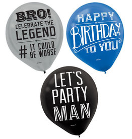Happy Birthday Man Printed Latex Balloon 15pk