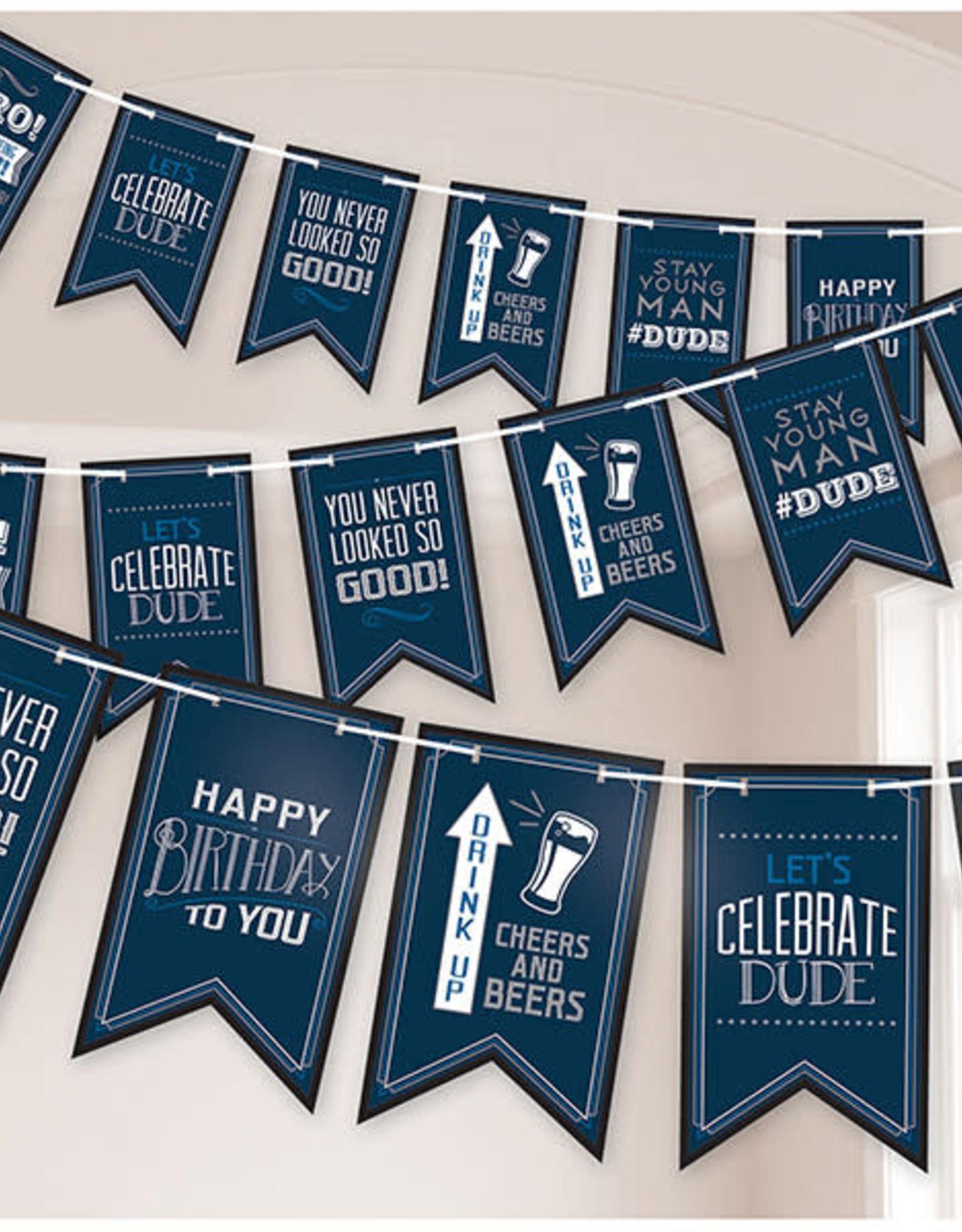 Happy Birthday Dude Pennant Banner 15FT