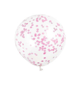 """Clear Latex 12"""" Balloons with Hot Pink Confetti 6ct"""