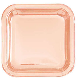 Rose Gold Square Plates 8ct, 7""