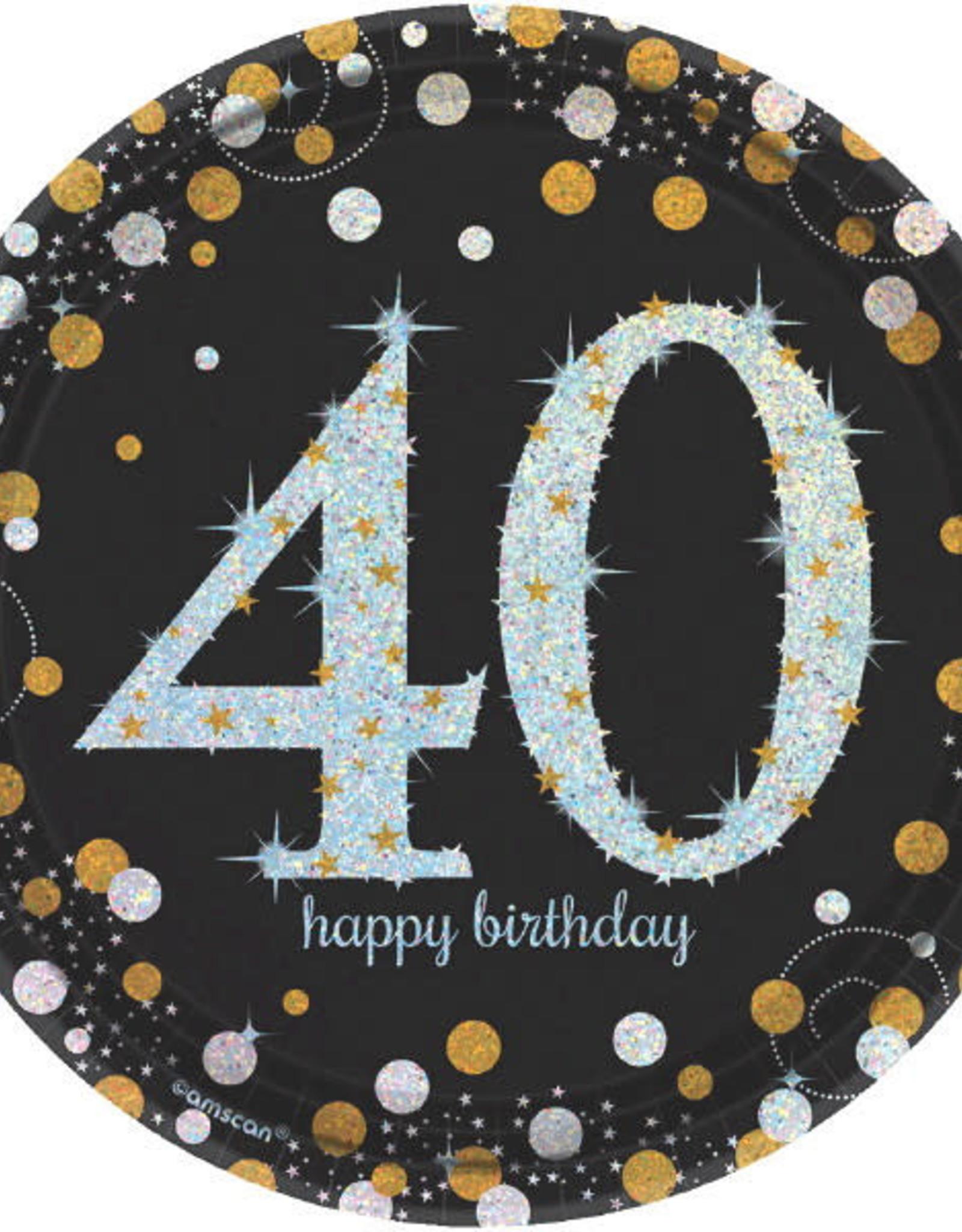 "40th Birthday Black & Gold 7"" Dessert Plates"