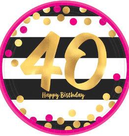 "40th Birthday Pink & Gold 7"" Dessert Plates"