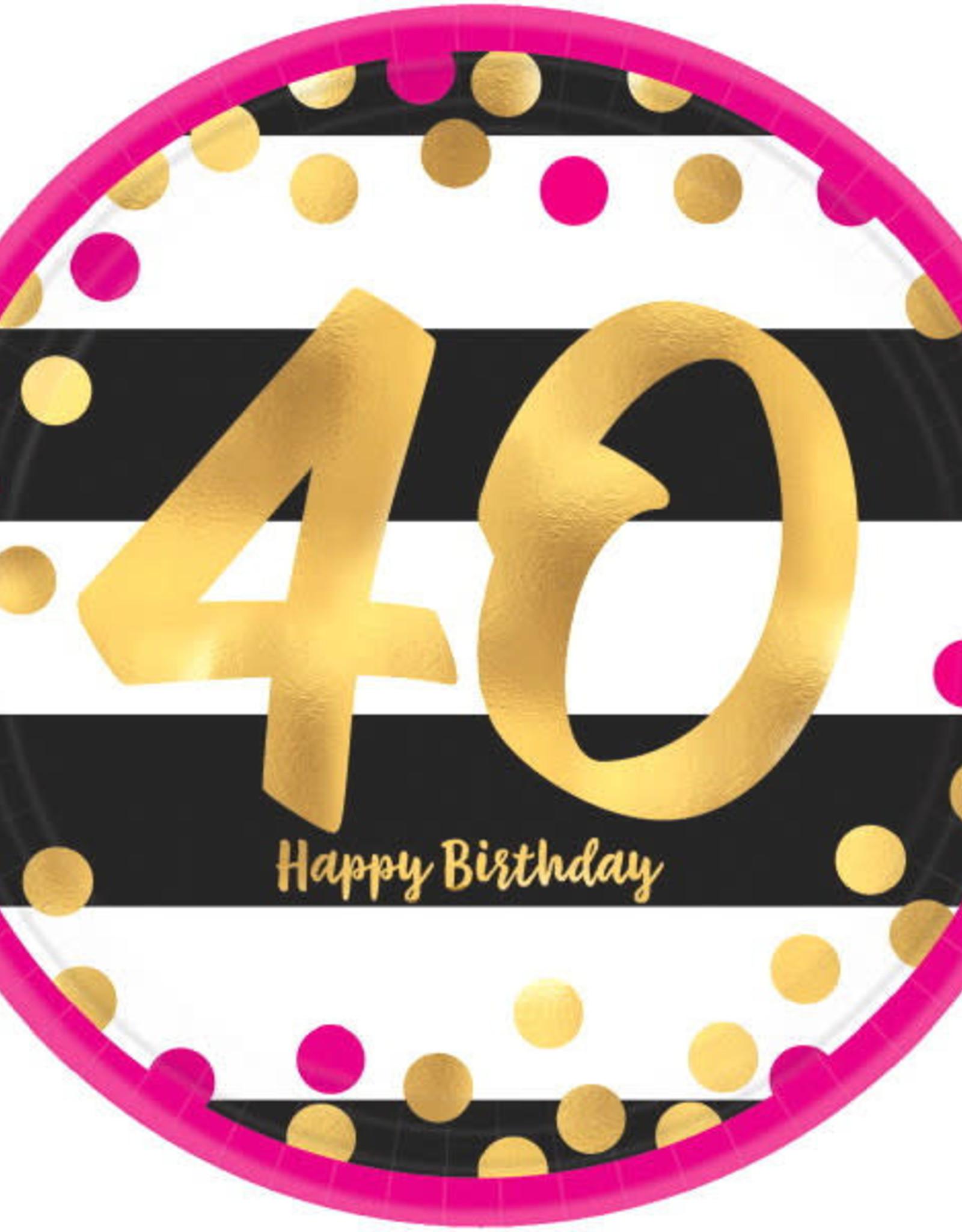 "40th Birthday Pink & Gold 9"" Dinner Plates"