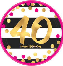 "40th Birthday Pink & Gold 9"" Dinner Plates"