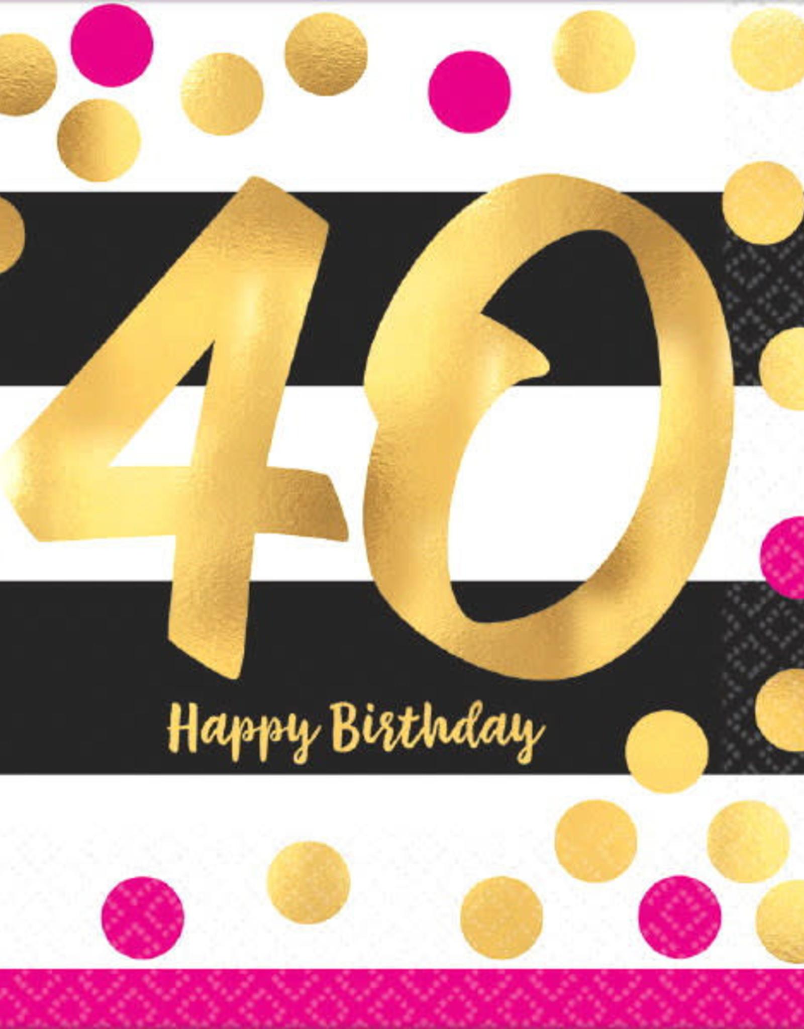 40th Birthday Pink & Gold Luncheon Napkins