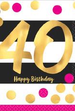 40th Birthday Pink & Gold Beverage Napkins