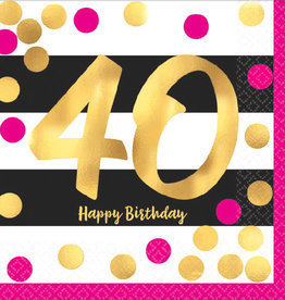 40th Birthday Pink & Gold Beverage Napkins