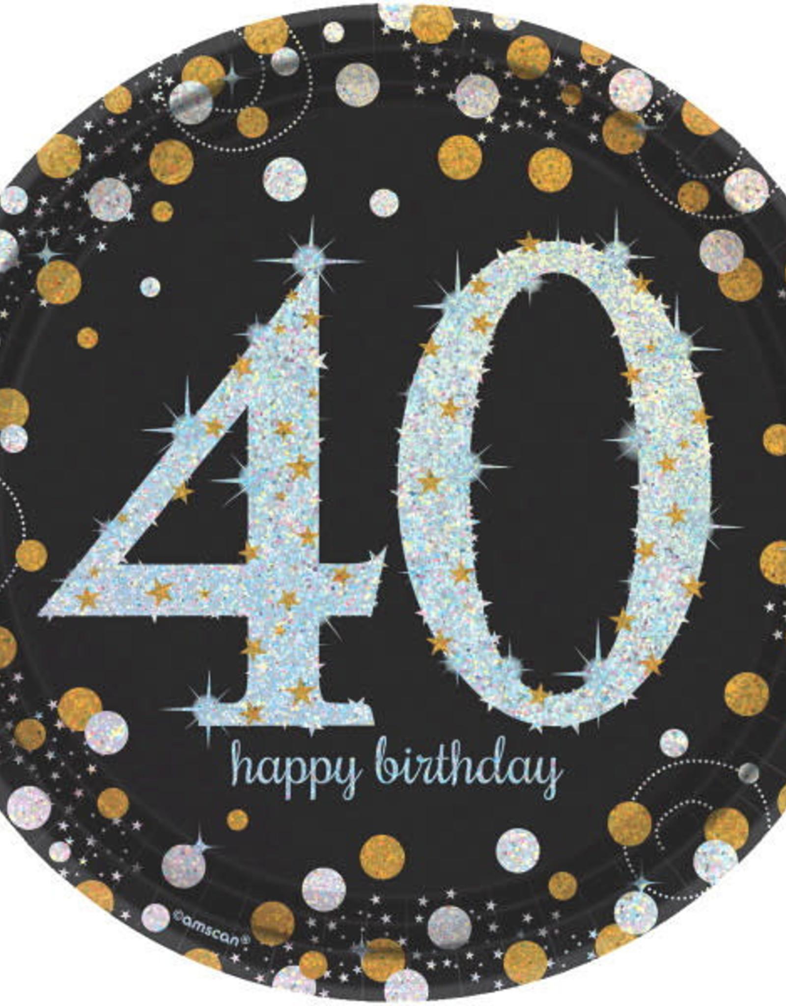 "40th Birthday Black & Gold 9"" Dinner Plates"