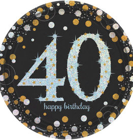 "40th Birthday Black & Gold 9"" Dinner Plates"