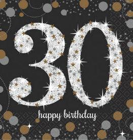 30th Birthday Black & Gold Sparkling Celebration Beverage Napkins