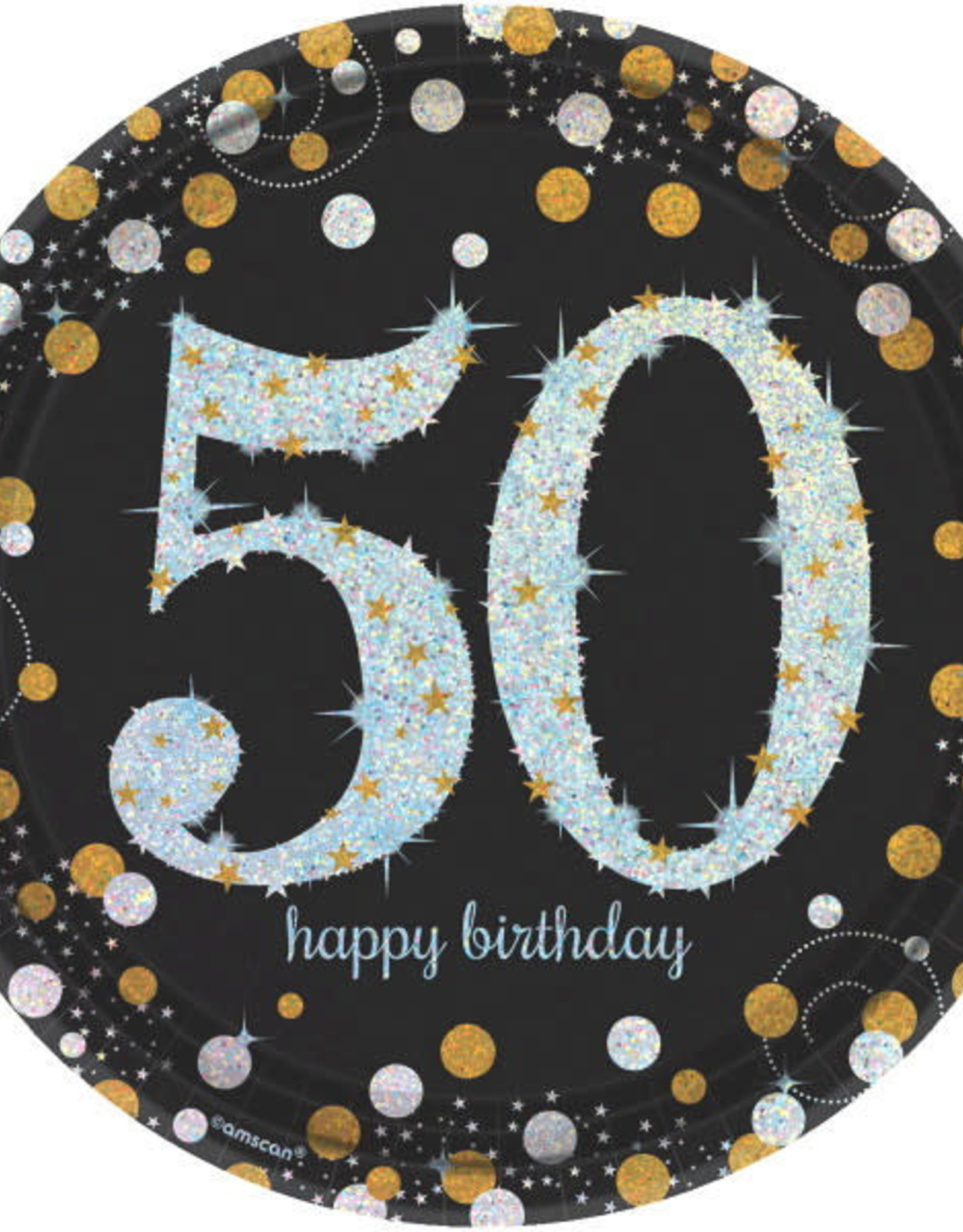 "50th Birthday Black & Gold Sparkling Celebration 9"" Dinner Plates"