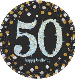"50th Birthday Black & Gold Sparkling Celebration 9"" Dinner Plates"
