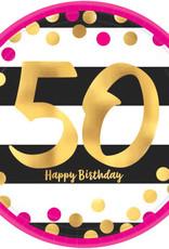 "50th Birthday Pink & Gold 9"" Dinner Plates"