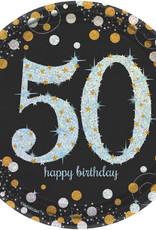 "50th Birthday Black & Gold Sparkling Celebration 9"" Dessert Plates"