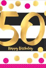 50th Birthday Pink & Gold Luncheon Napkins