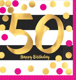 50th Birthday Pink & Gold Luncheon Napkins