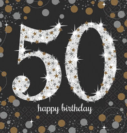50th Birthday Black & Gold Sparkling Celebration Luncheon Napkins