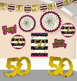 50th Birthday Pink & Gold Decorating Kit