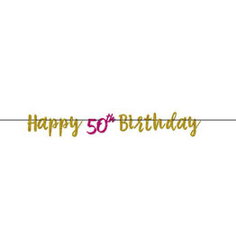 50th Birthday Pink & Gold Banner