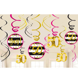 50th Birthday Pink & Gold Swirl Decorations