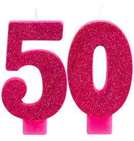 Pink Glitter 50th Birthday Candle