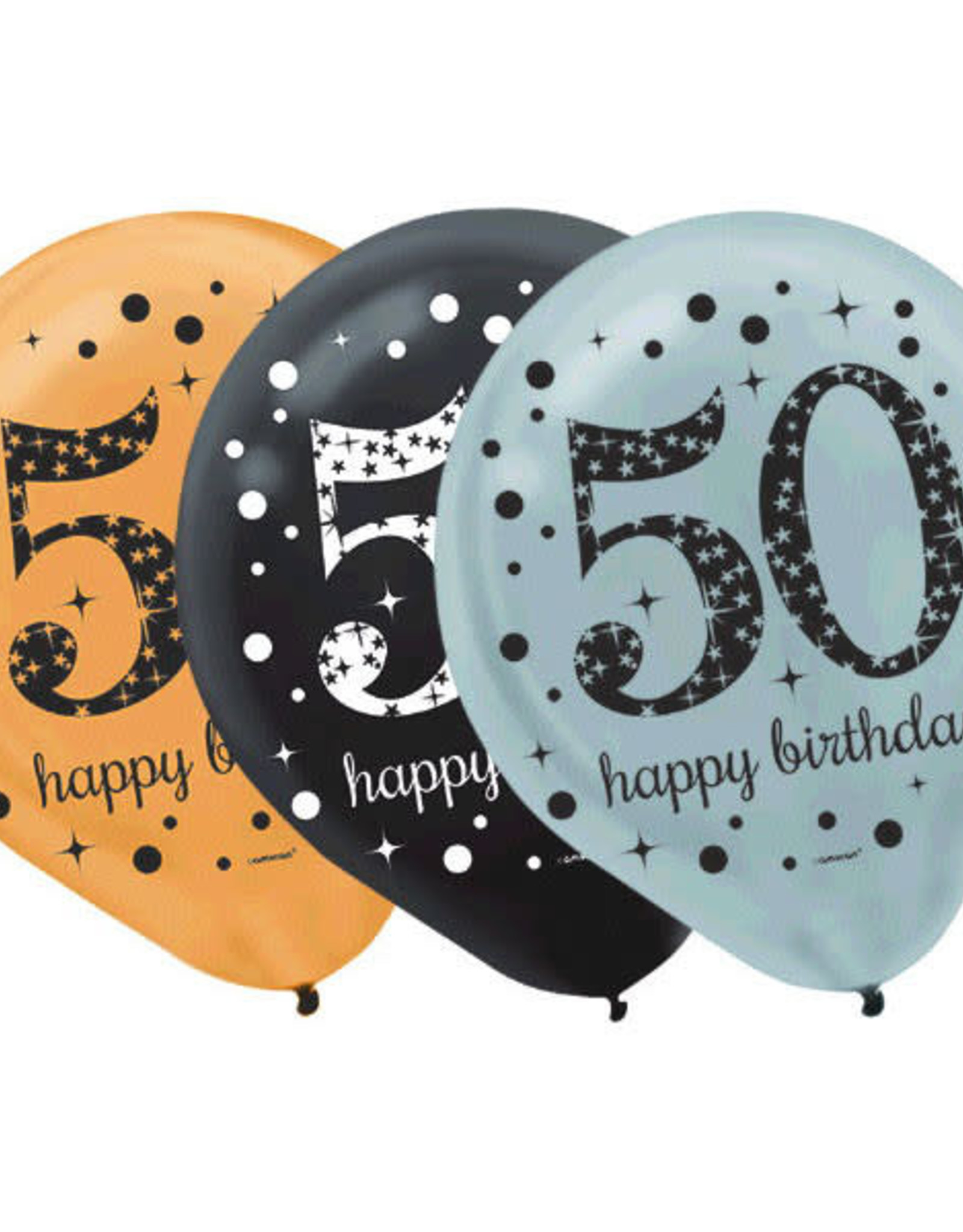 Sparkling Celebration 50th Birthday Latex Balloons Black, Silver & Gold 15PK