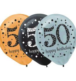 Sparkling Celebration 50th Birthday Latex Balloons Black, Silver & Gold 15PK
