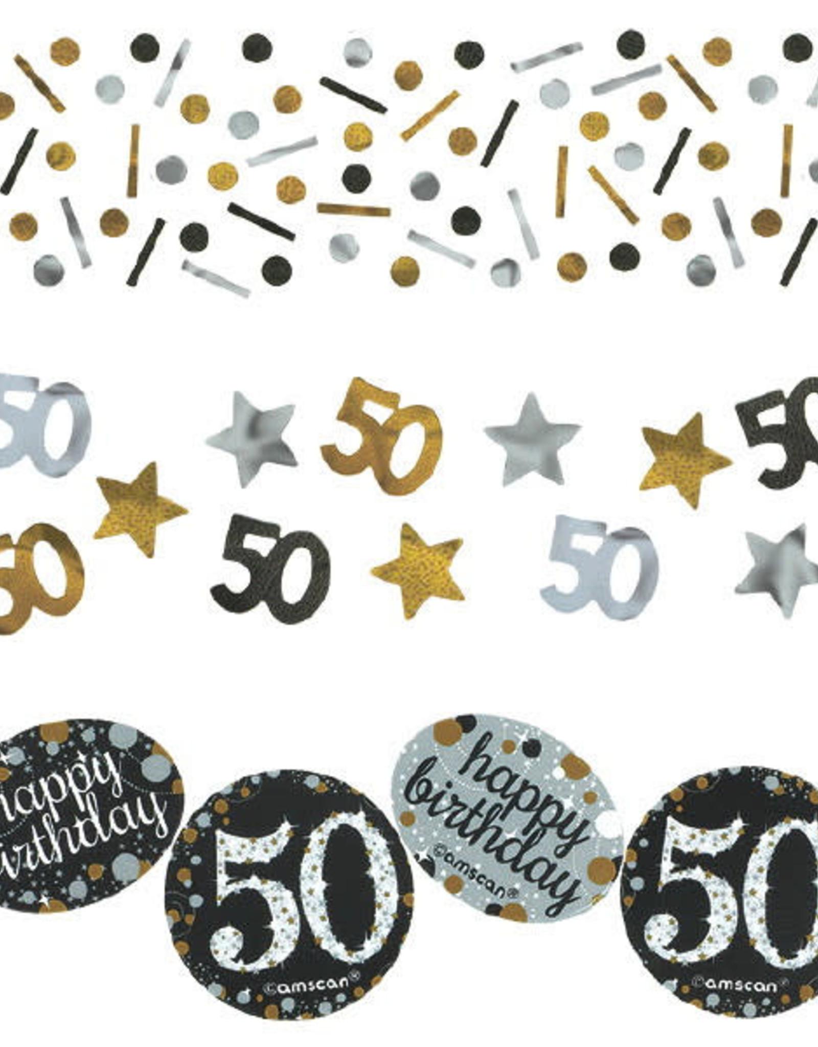 50th Birthday Gold & Black Value Confetti 1.2oz