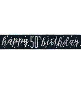 Glitz Black 50th Birthday Banner 9ft