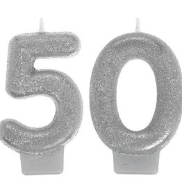 50th Birthday Glitter Silver Candle