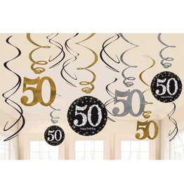 50th Birthday Black & Gold Hanging Swirl Decorations