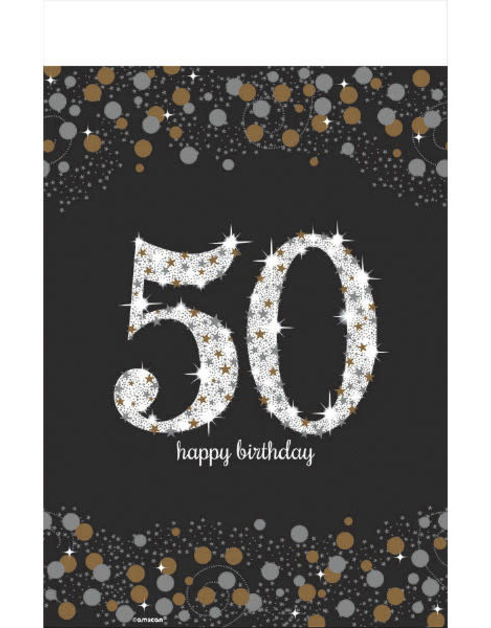 50th Birthday Sparkling Celebration 6FT Plastic Tablecloth