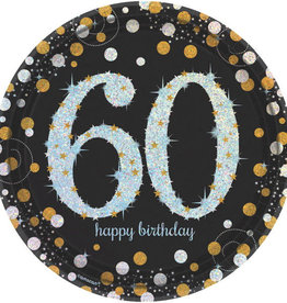 "60th Birthday Black & Gold 9"" Dinner Plates"