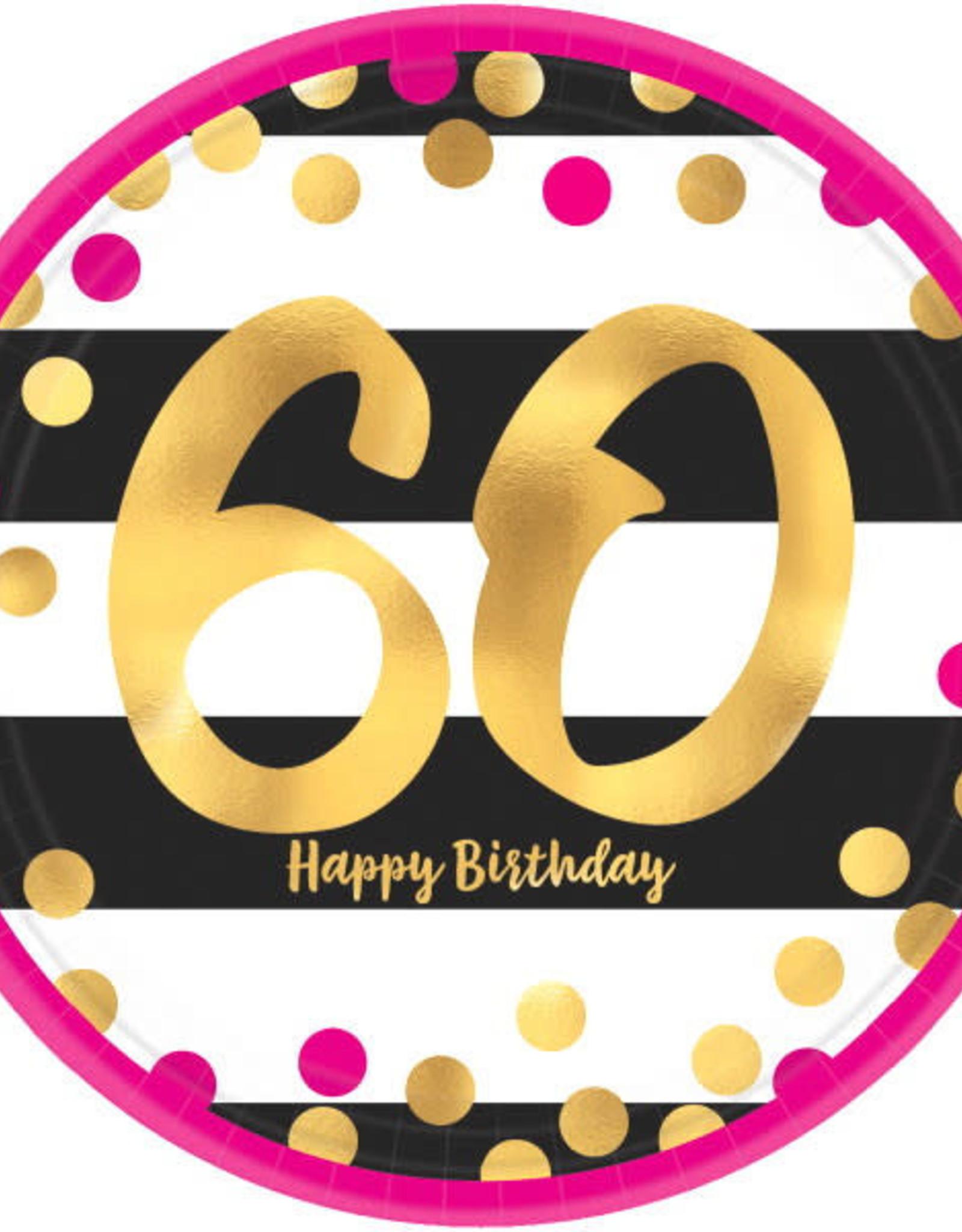 "60th Birthday Pink & Gold 9"" Dinner Plates"