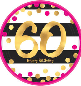 "60th Birthday Pink & Gold 9"" Dinner Plates"
