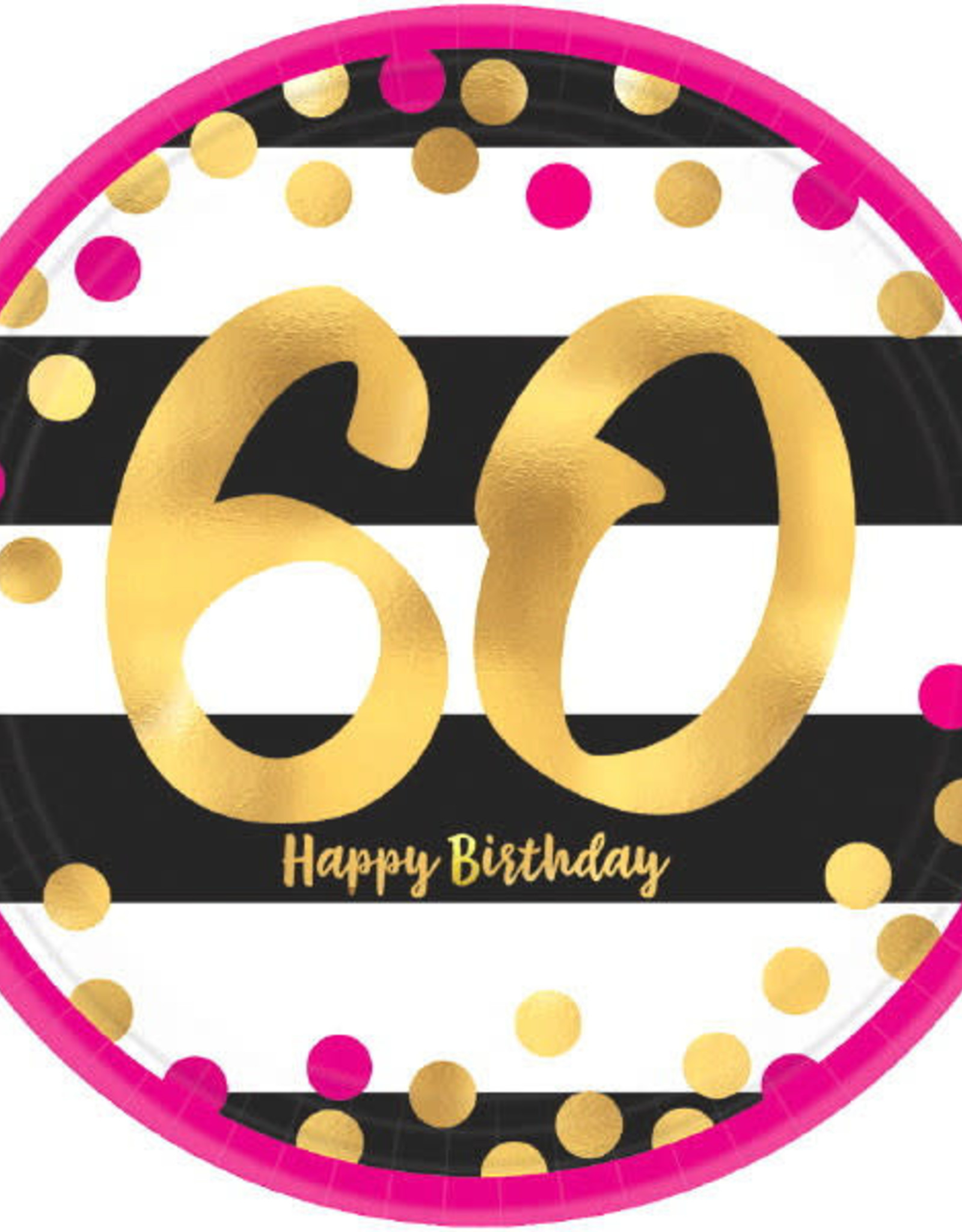 "60th Birthday Pink & Gold 7"" Dessert Plates"