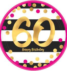 "60th Birthday Pink & Gold 7"" Dessert Plates"