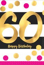 60th Birthday Pink & Gold Luncheon Napkins