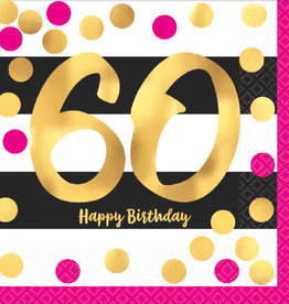 60th Birthday Pink & Gold Luncheon Napkins