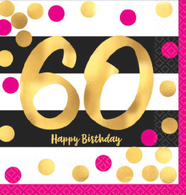60th Birthday Pink & Gold Beverage Napkins
