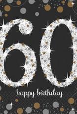 60th Birthday Black & Gold Sparkling Celebration Luncheon Napkins