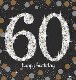 60th Birthday Black & Gold Sparkling Celebration Beverage Napkins