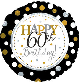 'Happy 60th Birthday!' Black & Gold Foil Balloon 18""