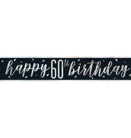 Glitz Black 60th Birthday Banner 9FT