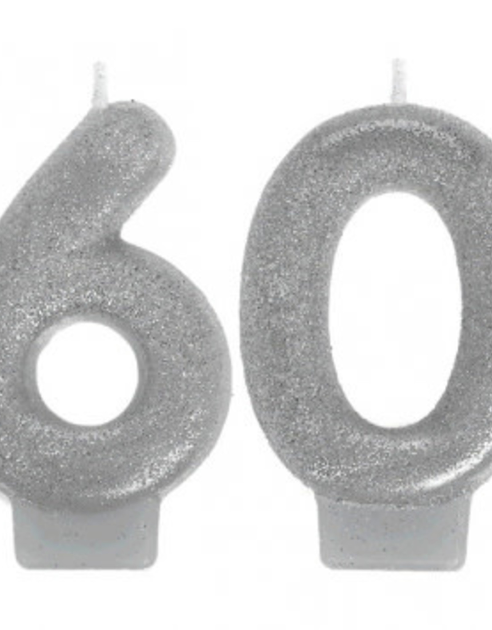 60th Birthday Glitter Silver Candle