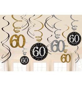 60th Birthday Black and Gold Swirls 12ct