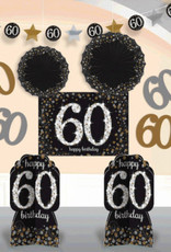 60th Birthday Black & Gold Sparkling Celebration Room Decorating Kit