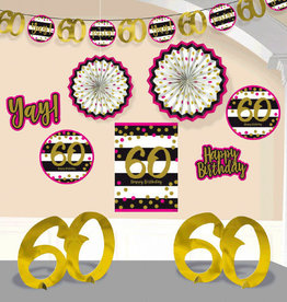 60th Birthday Pink & Gold Room Decorating Kit
