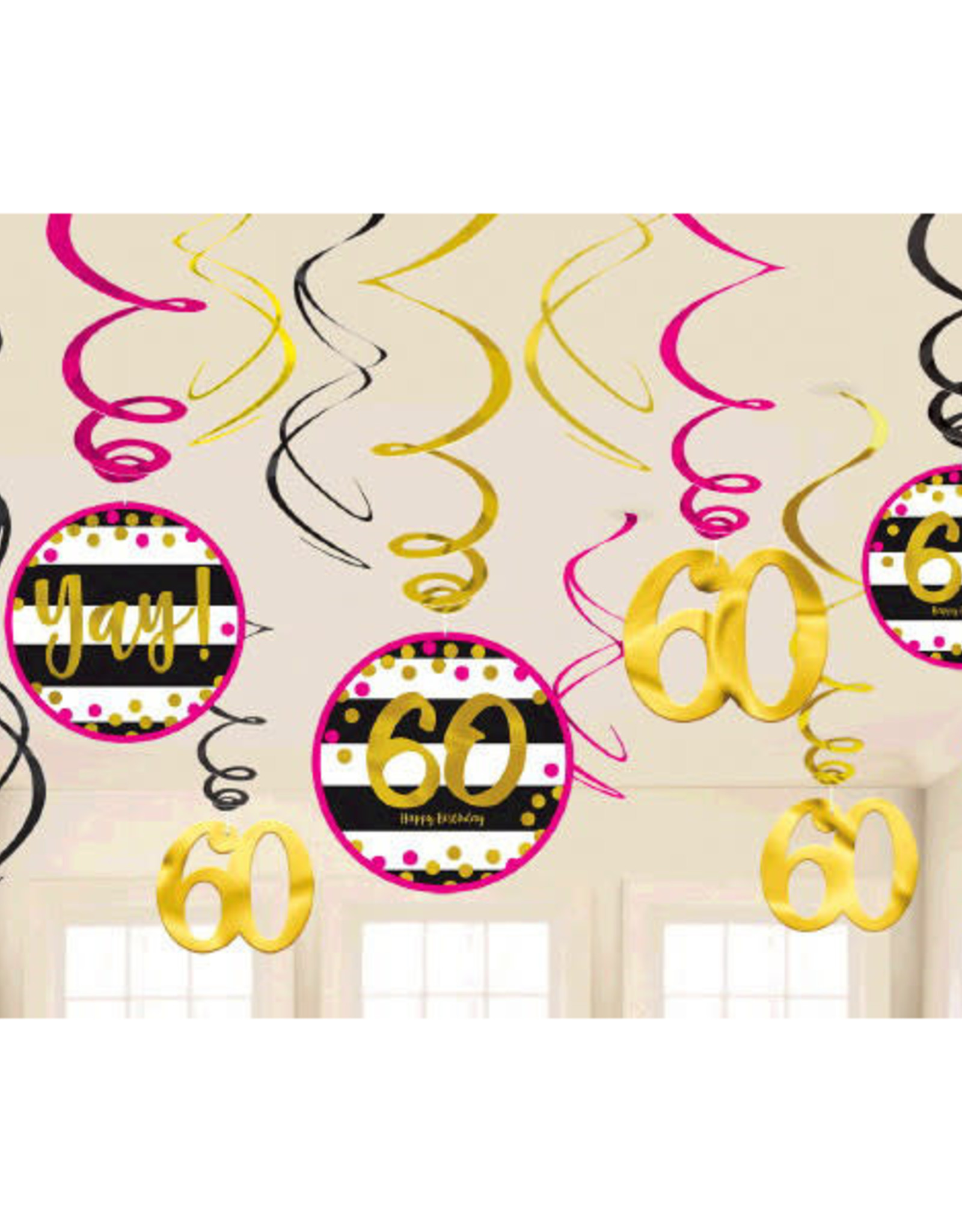 60th Birthday Pink & Gold Hanging Swirls