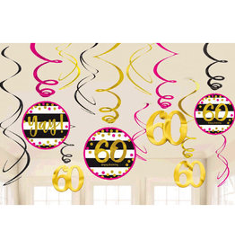 60th Birthday Pink & Gold Hanging Swirls